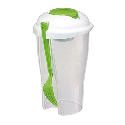 Ensaladera taza verde 850 ml horquilla integrado vaso