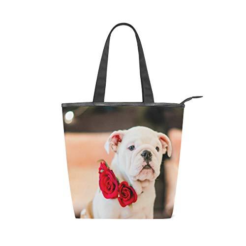 LAZEN Stilvolle Leinwand Tote Bag Handtasche 14 x 4,5 x 15 Zoll niedlichen Hund trägt Rose