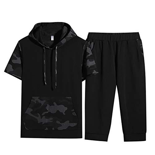 ZEELIY 2019 Männer Frühling Sommer Kurzarm Mit Kapuze Sweatshirt Tops Hosen Sets Anzug Herren T-Shirt Trainingsanzug