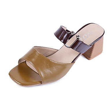 RTRY Donna Sandali Comfort Estate Pu Blocco Casuale Tacco Marrone Scuro Bianco Beige 2A-2 3/4In US7.5 / EU38 / UK5.5 / CN38