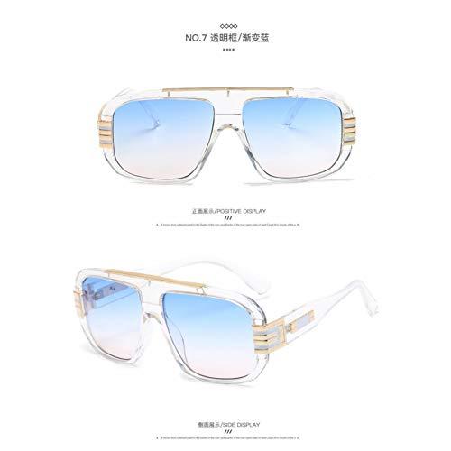 Taiyangcheng Frauen-Sonnenbrille-Quadrat-Gläser großer Rahmen-Sonnenbrille-Azetat-Schatten Gradienten-Brillen,klares Blau