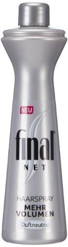Final Net Spray per capelli ricarica più volume Profumo neutro, confezione da (3X 125ML)