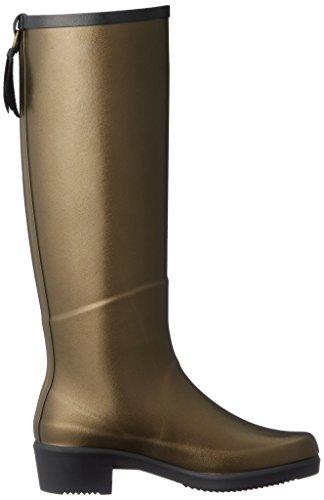 Aigle Womens Miss Juliette Rubber Boots Goldbronze Black