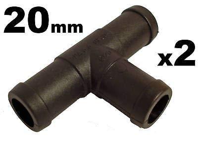 227s - Deux raccords de tuyaux - en T - tuyaux d'eau/carburant/reniflard - résistant à des températures entre -30 et + 140 °C - 20 mm