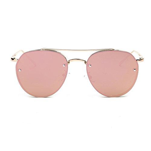 Auifor ✿Frauen Mode-Rund Sonnenbrillen Metall Sonnenbrillen Marke klassischen Ton Mirr