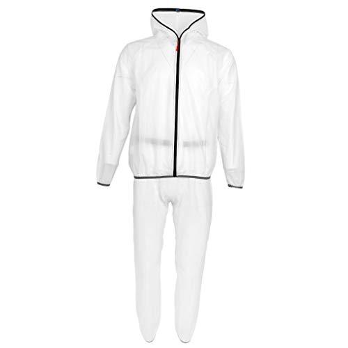 D DOLITY Wasserdichte Jacke + Hose Outdoor Radfahren Regenanzug Regenjacke Regenhose Regenmantel mit Kapuze für Herren Damen - Weiß XL