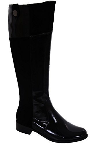 Absatz Damen Schwarz Kniehohe Niedrig Schuhe Spitz Boots