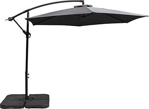 Schallen 3M Leanover Cantilever Hanging Sun Umbrella Banana Parasol with Crank System for Outdoor, Garden and Patio (Dark Grey)