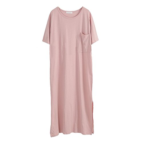 Dreamworldeu - Robe - Relaxed - Uni - Manches Courtes - Femme Rose