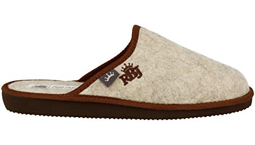 Zapatillas De Casa para Hombre De Fieltro De Lana Natural Calientes Transpirables Bienestar Natural Handmade Calidad (43 EU, Marrón 902A)