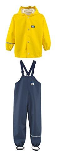 Rukka wasserdichte Regenbekleidung für Kinder Set gelbe Regenjacke und marineblaue Latzhose 80 cm / 1 Jahr