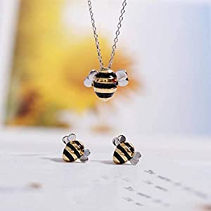 Bee And Fox S925 Sterling Silber Süße Biene Halskette Ohrringe Set