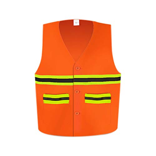 Qi Peng-//Reflektierende Westen - Hygienearbeiter mit hoher Sichtbarkeit Reflektierende Weste Reinigungsservice Road Garden Safety Clothing Reflektierende Westen (Farbe : Orange, größe : 1)