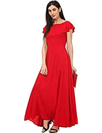 Radhika Fashion Vouge Crepe Red Plain Party Wear Gown