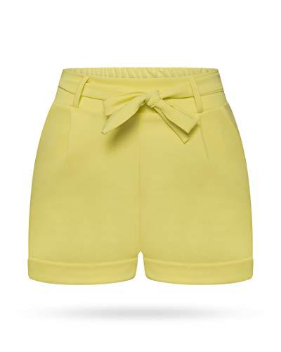 Kendindza Damen Sommer Shorts | Kurze Hose mit Schleife zum binden | Bermuda | Uni-Farben (L/XL, Gelb) Collection Casual Hosen