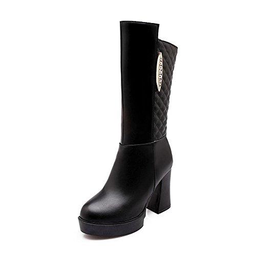 AllhqFashion Damen Hoher Absatz Blend-Materialien Mittler Kalb Rein Reißverschluss Stiefel Schwarz