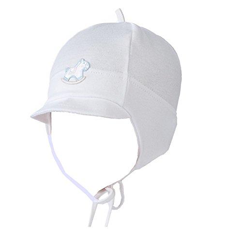 Babymütze Jungen Taufe Übergangsmütze Baumwolle rein-Weiß Übergangsmütze 1A Quallität (44 cm)