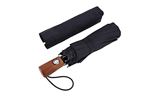 FiveMax 10-Rib Auto Open and Close Windproof Compact Travel Folding Umbrella with Wood Handle