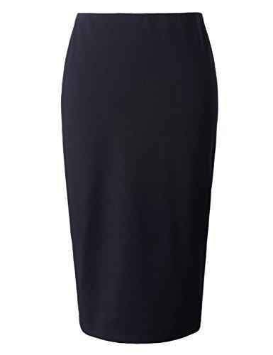 Chicwe Damen Rock Große Größen Stretch Lange Tailored Bleistiftrock mit Elastischem Bund Wadenlänge Schwarz 4X