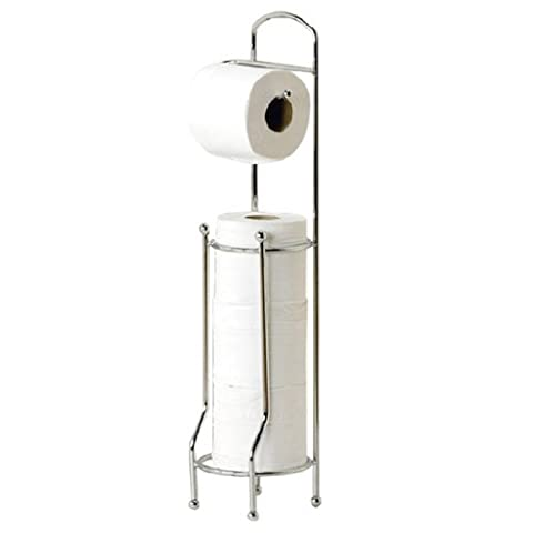 New Free Standing Chrome Toilet Roll Holder Tissue Paper Storage Dispenser Stand Shopmonk