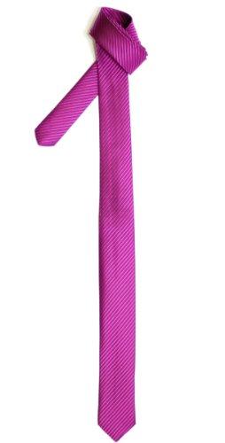 Cravate Fine Slim Texturé À rayures Tissée en Microfibres de Retreez Rose foncé