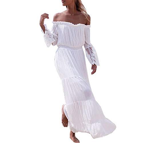 19 Frauen Lace Panel Schulterfrei Kleid Strand Rock Weiß L ()