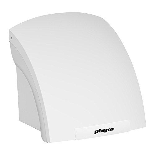 Physa VELOX Händetrockner (elektrisch, 30s, 1.800W, 230V, geräuscharm, platzsparend, Luftgeschwindigkeit: 15 m/s, Wandmontage, 4.600 U/min, IPX2) Weiß