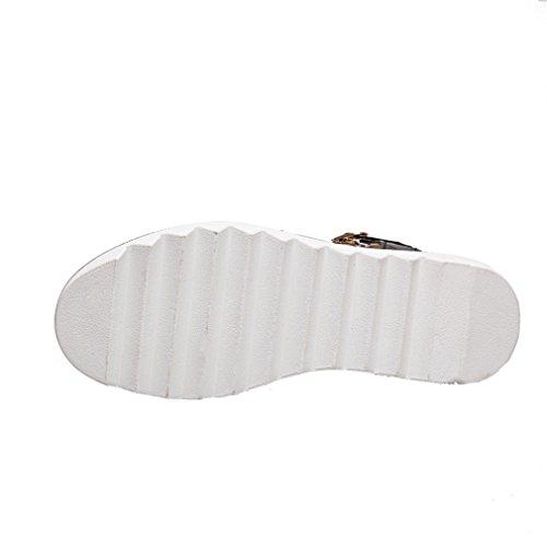YE Damen Riemchen Flache Plateau Sandalen mit Schnalle und Nieten Bequem Schuhe Schwarz