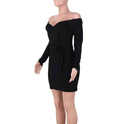 robe femme, Transer ® Femmes sexy manches longues large épaule tricot Stretch robe Bodycon Noir