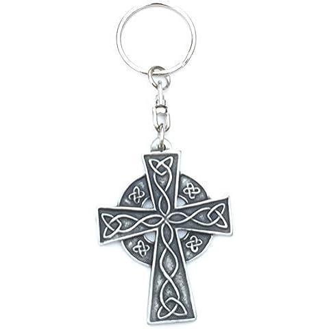 Croce Celtica Handmade Peltro Portachiavi + Distintivo + Sacchetto In Organza
