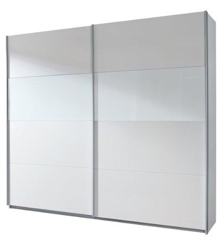 Rauch Schwebetürenschrank Kleiderschrank Weiß Alpin 2-türig, Glasabsetzungen Weiß, BxHxT 181x210x62cm
