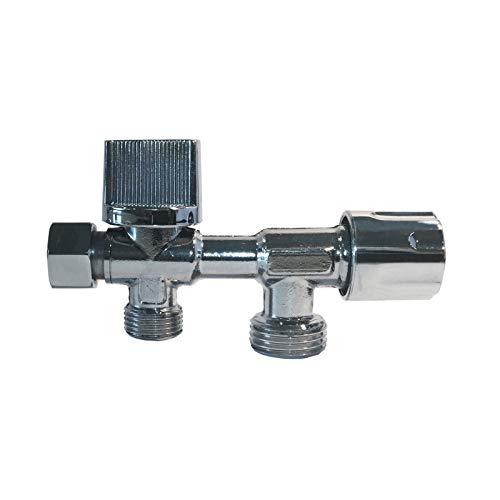 Disflex - Robinet d'arrêt WC 3 voies horizontal laiton spécial douchette WC bidet