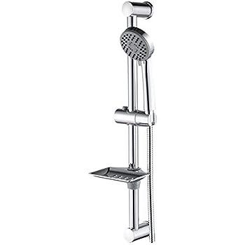 Ensemble de douche avec barre coulissante avec porte savon pomme de douche et flexible tout en 1/Package