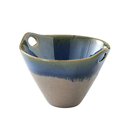 Fmn ciotola ceramica biauricolare inserisci bacchette istantanee ciotola per noodle ciotola per dolci serie stellata ciotola per insalata ciotola per uso domestico (colore : green)