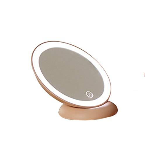Karidesh Miroir portatif rétroviseur Portable opposé avec Lampe LED Chevet de Chambre Simple Maquillage Miroir Princesse (Color : Pink)