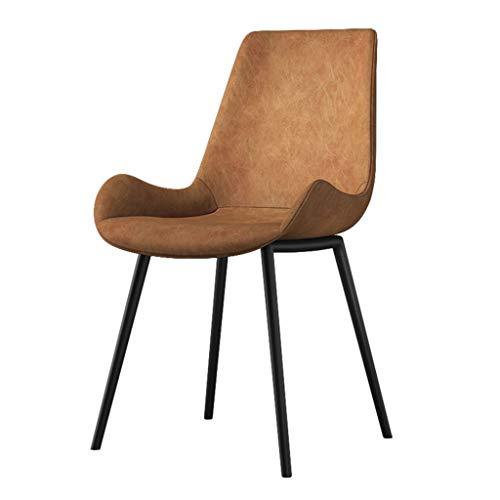 OUG Dining Chair Schmiedeeisen Kaffeestuhl, Leicht und Einfach, Ledermaterial, Ergonomische Rückenlehne, Esszimmer, Arbeitszimmer, Braun (45 × 47 × 84 cm)