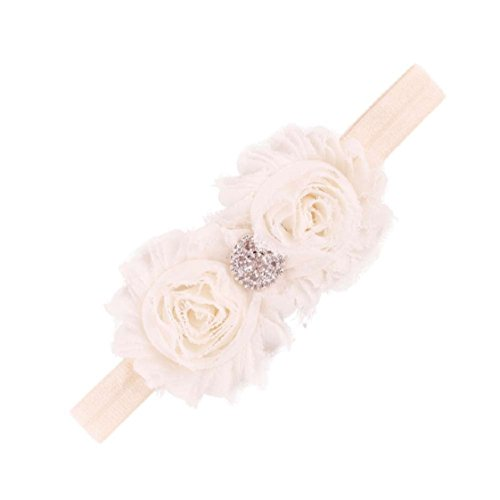 Vovotrade Girls Stirnbänder Blumen-Haar-Accessoires für Mädchen Baby-Haar-Band- (Beige)