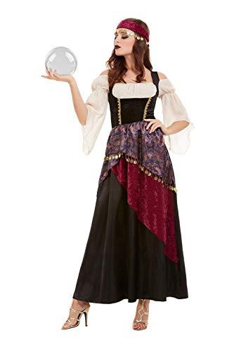 Smiffys 50953S Deluxe Fortune Teller Kostüm, Damen, Schwarz, S, Größe 08-10 -
