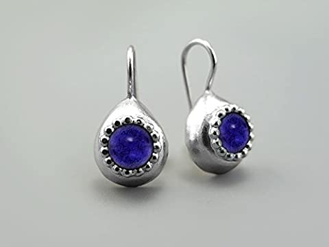 Blue Violet Iolite (Water Sapphire) Teardrop Earrings For Women 925 Sterling Silver Small Drop Earings Natural Genuine Gemstones Modern earring handmade Unique Gifts For Her 21th wedding anniversary