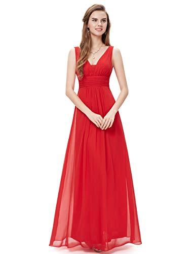 Ever-Pretty Robe de Soirée Femme Longue Double col V Style Empire 40 Rouge