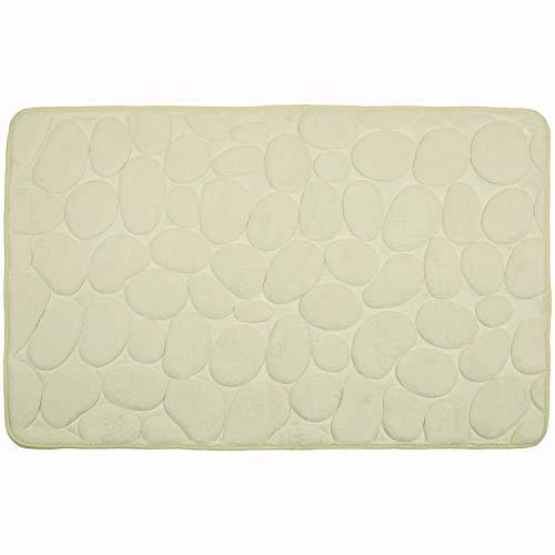 WohnDirect Badezimmerteppich mit Memory Foam - Rutschfester Badteppich - Badematte waschbar & schnelltrocknend auch ideal als Duschvorleger - Badvorleger 50 x 80 cm - Beige