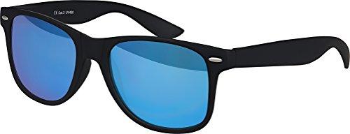 Original Balinco UV400 CAT 3 CE Vintage Unisex Retro Wayfarer Sonnenbrille - verschiedene Farben in Einzel - Doppelpack & Dreierpack wählbar (Einzelpack - Rahmen: Schwarz Matt, Gläser: Blau verspiegelt) - Blaue Gläser