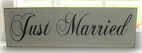 qidushop Hochzeitsschild Just Married, Hochzeitsdekoration, Just Married, Schild, Hochzeit, Fotografie, Schild, rustikales Hochzeitsschild, Brautgeschenk, antikes Zuhause, Wanddekoration, Holzschild