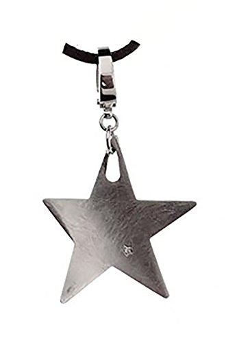 Collana comete gioielli in caucciu' con ciondolo stella e 1 diamantino taglio brillante