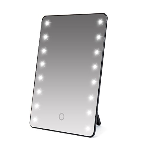 Make-up Spiegel mit LED Beleuchtung schwarz dimmbar durch Touch Schalter + 16 LEDs Standspiegel Profi Kosmetikspiegel Schminkspiegel Tischspiegel Batteriebetrieben Schwarz Schminkspiegel