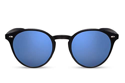 Cheapass Sonnenbrille Schwarz Runde Brille Blau Verspiegelt UV-400 Retro Damen Herren
