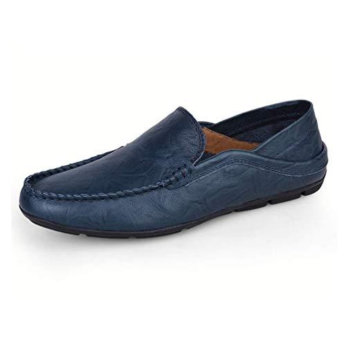 HILOTU Slipper Für Herren PU Leder Edle Atmungsaktive Reine Farbe Driving Boat Schuhe Mokassins Freizeitschuhe (Color : Blau, Size : 46 EU)
