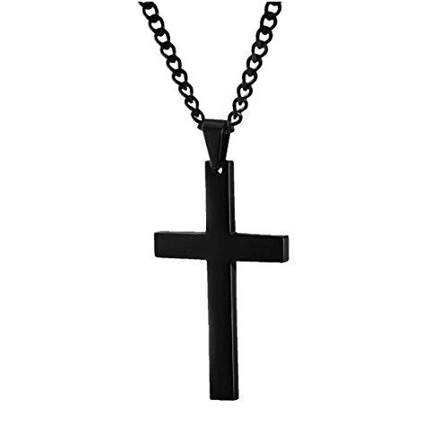 Halskette mit Kreuzanhänger Edelstahl in Schwarz, Schmuck Damen Herren Frauen Kinder, Kette Kreuz