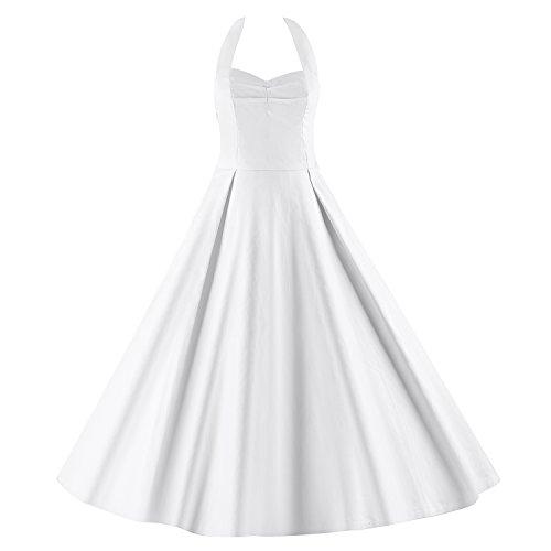 LUOUSE Robe de Bal/Soirée Licou Vintage année 40 50 60 avec des Points Polka E053-White