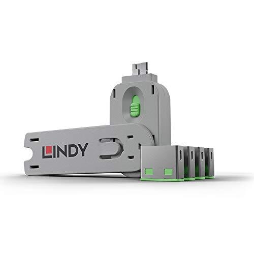 LINDY 40451 - USB Port Schloss (4 Stück) mit Schlüssel: Code Grün